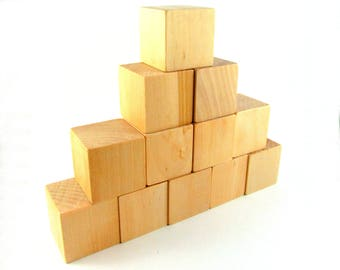 Natural Wood building blocks - Set of 12 wooden blocks - Wooden building blocks