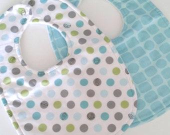 Baby Bibs, Set of 2, Lots a Dots & Snakeskin