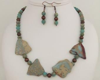 Aqua Terra Jasper Gemstone Statement Necklace and Earring Jewelry Set