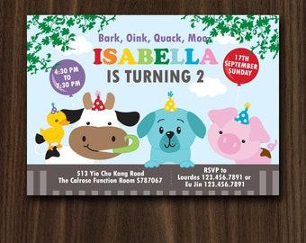 DIGITAL FILE Farm Invite, Farm Invitation, Petting Zoo Invitation, Farm Theme, Zoo Birthday, Petting Zoo Party Invitation 7x5 inches