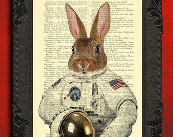 Rabbit astronaut in space poster, space traveller bunny dictionary art print, funny animal poster for dorm decor