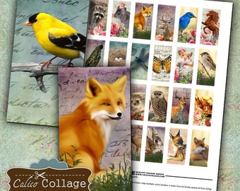 Woodland, Domino Collage Sheet, 1x2 Images, Digital Download, Animal Images, Printable Ephemera, Collage Sheet, Craft Images