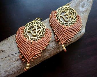 Om Macrame Brass Earrings | Brown, Sacred Geometry | Bohemian Chic