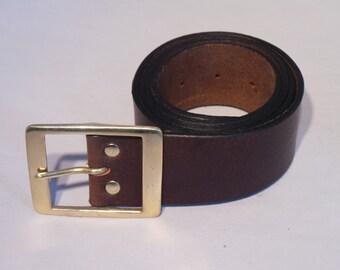 Brass 2 Inch Rectangle Buckle Highest Quality Full Grain Leather Belt Straps - Designer Italian Handmade to Measure Belts