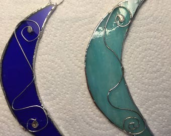 Stained glass moon suncatcher,  wall hanging, gift idea, blue, green