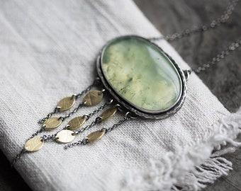 Laurelin Necklace ( soft green prehnite gemstone pendant. antique sterling silver. golden brass beech leaf print. green nature jewelry )