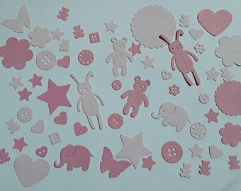 Cuts paper, baby, 60 pink embellishments