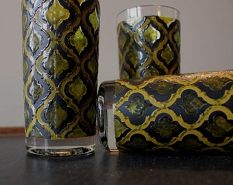 Sale Trio of Hiballs Unmarked Green Gold and Black Trefoil Pattern