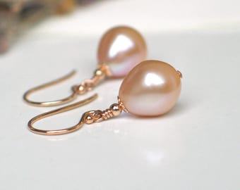 Teardrop Pearl Earrings | Pink Champagne Freshwater Pearls | 14k Rose Gold Filled Dangles | Vintage Style | Everyday Pearl | Ready to Ship