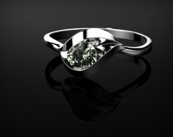 Prasiolite Ring Sterling Silver Prasiolite Engagement Ring Green Amethyst Engagement Ring Gemstone Green Amethyst Ring