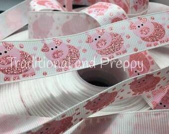 """7/8"""" Glitter Pink Pig Pigs on white grosgrain ribbon"""