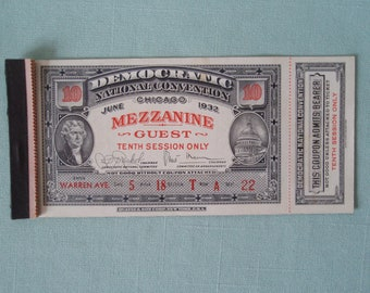 1932 Ticket with Attached Stub and Binder Book Democratic National Convention Roosevelt Chicago Memorabilia Souvenir d700