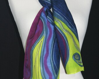 Multicolored Hand Painted Silk Scarf. Blue, Burgundy, Lime Silk Scarf PURPLE TORNADO. Size 8x54. Birthday, Anniversary Gift. Gift-Wrapped.
