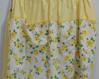 Vintage Yellow Half Apron with Rick Rack Trim
