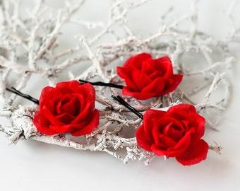 71 Red rose hair accessories, floral hair piece, bridal hair flower, hair accessories for women, wedding hair pins, red wedding, wedding