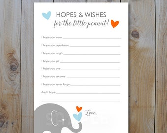 Elephant Baby Shower Hopes and Wishes Cards / Blue and Orange Elephants / Instant Download / PRINTABLE  / #40405