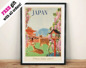 JAPAN TRAVEL POSTER: Vintage Japanese Deer Advert, Art Print Wall Hanging