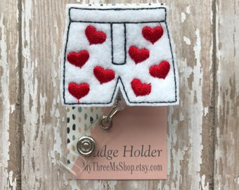 Heart Boxer Badge Reel Boy Shorts Feltie Retractable Badge Reel Embroidered Valentines Day Name Tag ID Clip Badge Pull Name Tag Holder