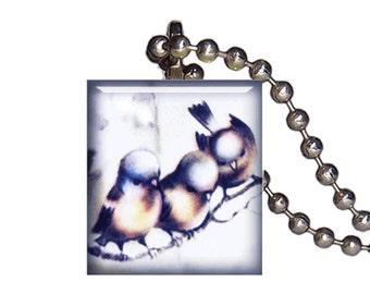 Vintage Bluebirds On Branch Winter - Reclaimed Scrabble Tile Pendant Necklace