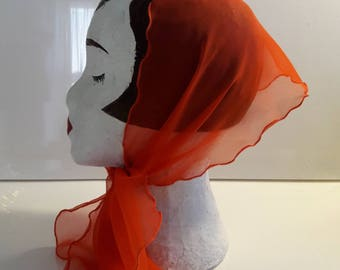 Bright Clementine orange vintage scarf sheer with ruffled edge oblong rectangle