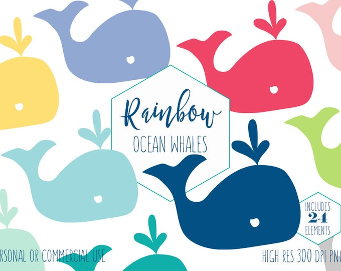 CUTE WHALE CLIPART for Commercial Use Kids Clip Art Nautical Ocean Animal Images Beach Clipart Rainbow Colors Vector Digital Graphics Svg