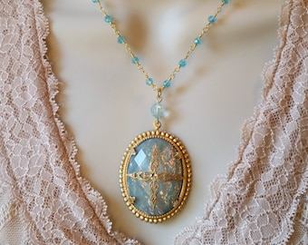 Blue And Gold, Pale Blue, Vintage Style Necklace, Blue, Renaissance Necklace, Gold Plated, Gypsy Necklace, Bohemian Style, Blue Necklace