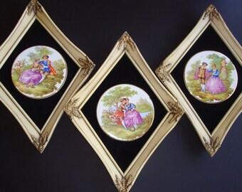 Trio of Fragonard Limoges Lovers Courting Couple Framed Porcelain Plates
