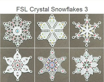 FSL Crystal Snowflakes 3 Free Standing Lace Christmas Machine Embroidery Designs Instant Download 4x4 hoop 10 designs APE1341
