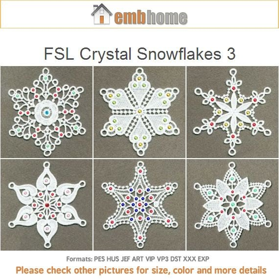 Fsl Crystal Snowflakes 3 Free Standing Lace Christmas Machine