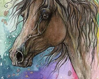 Bay horse watercolor painting