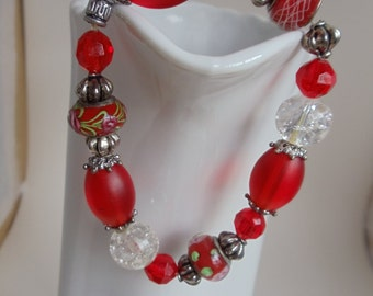 Vintage Lampwork & Crystal Stretch Bracelet, Red and Clear Glass Silver Tone Metal Beaded Bracelet, Red Jewelry, Valentine's Gift, 1991