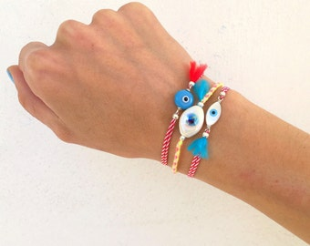 Evil eye cord bracelet, colorful stacking eye friendship bracelet, traditional Greek eye bracelet, hippie dainty boho eye tassel bracelet