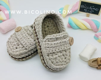 Andrea little men mocassini crochet baby shoes