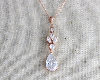 Rose gold necklace, Wedding jewelry, Bridal necklace, Crystal necklace, Bridesmaids necklace, Swarovski crystal, Bridal jewelry, Pendant