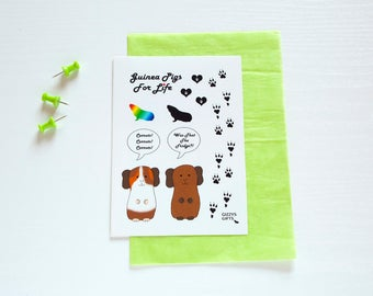 Guinea Pig Stickers. Cavy Lovers Gift. Cute Animal Designs. Small Pet Accessory. Present Idea. Vinyl Stickers. Scrapbooking. Embellishments.