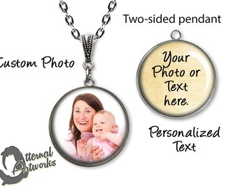 Customizable Two-Sided, Photo Pendant Necklace, Design Your Own Necklace, Personalized Jewelry, Custom Pendant
