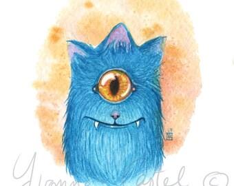 Aquarelle d'un Cute monster cyclope bleu