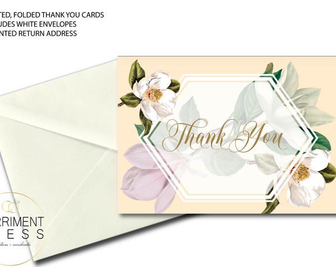 Magnolia Thank You Card // Folded Thank You // Botanical // Blush // Greenery // Cream // White // Printed // CHARLESTON COLLECTION
