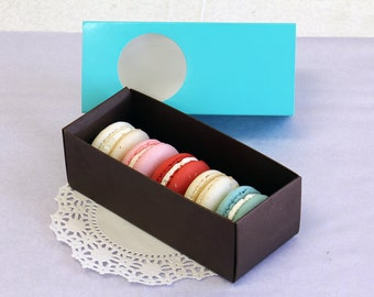 20 Turquoise & Brown Long Macaron Box/Gift/Favor/Party Boxes