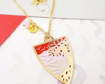 Autumn Personalised Birthstone Pendant - Gold