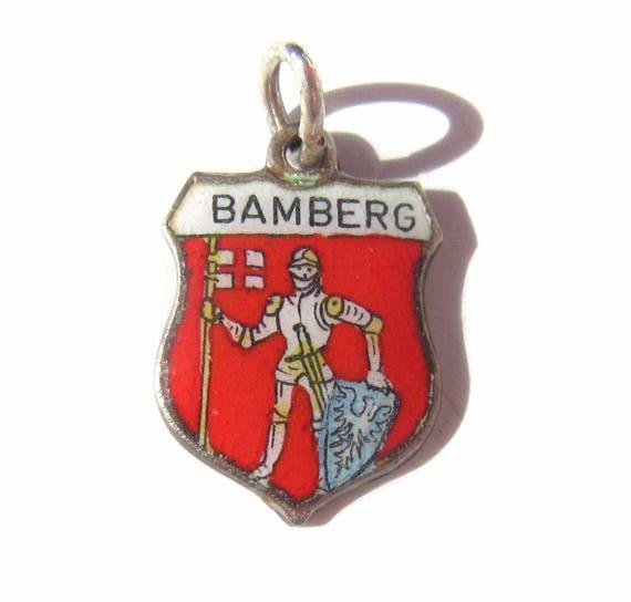 Bamberg Germany Charm, Enamel Shield Charm, German Souvenir, Sterling Silver 925 Silver Charm, Bamberg Souvenir Coat of Arms