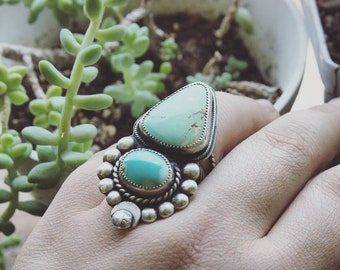 Royston Turquoise Statement Ring, Handcrafted Sterling Silver Chunky Moon Ring, Warrior Turquoise Jewelry, Heirloom Royston Statement Ring