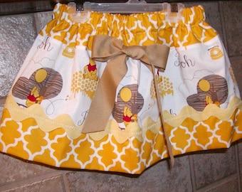 Girls Skirt Custom skirt...Winnie Pooh N Mustard..Available in 0-12 months, 1/2, 3/4, 5/6, 7/8, 9/10 Bigger Sizes Available