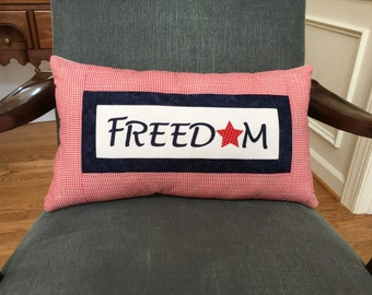 Patriotic pillow, freedom pillow, Fourth of July Pillow