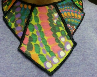 Women's Necklace- Fabric Bib Style with Center Panel design