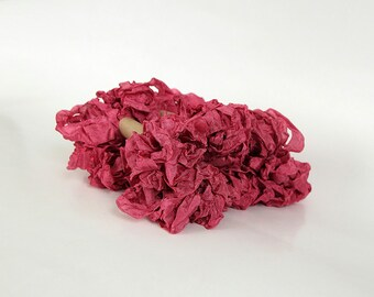 5 m - 5.4 yards - EVENING ROSE Shabby Wrinkled Ribbon - Crinkled Seam Binding Ribbon