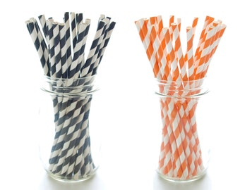 Black and Orange Halloween Party Straws, Candy Stripe Straws, 50 Pack - Black & Orange Straws