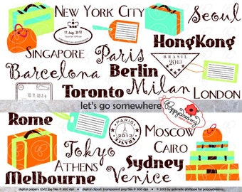 Let's Go Somewhere Travel Digital Clip Art Set: Suitcase Luggage Stamp World Cities Clipart