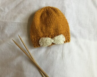 Hand Knit Baby Beanie / Hand Knit Baby Hat / Knit Baby Hat with Bow / Baby Beanie / Baby Bow / Mustard Yellow Baby Hat / Baby Accessories