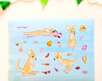 Wallaby 20 Sticker sheet by Lilly Piri